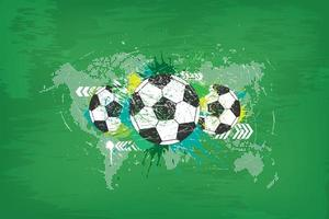 Grunge abstract football background with world map and dust particle on blackboard texture. vector