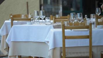 A table is set for dinner in Portofino, Italy, a luxury travel destination resort town in Europe. video