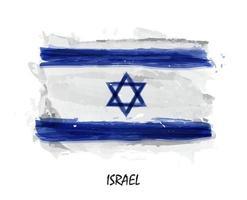 bandera de la pintura de acuarela realista de israel. vector