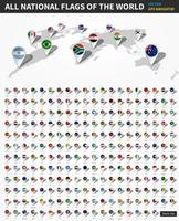 All official national flags of the world. GPS navigator location pin on perspective earth map in white background. vector