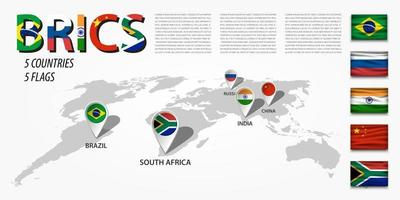 BRICS. Association of 5 countries. Brazil, Russia, India, China, South Africa. vector