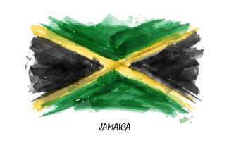 Realistic watercolor painting flag of Jamaica. vector