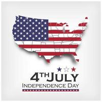 America map and flag. Independence day of USA 4th July. vector