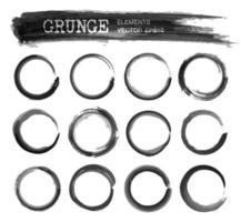 Set of grunge realistic black color ink watercolor painting circle frame design. vector