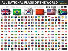 All official national flags of the world . Old stamp shape design with scratch and abrasion texture. vector
