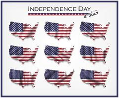 United states of america map and waving flag set. Independence day of USA 4th July concept. vector