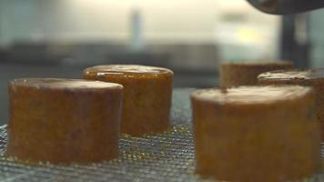 close-up de um chef de cozinha preparando uma sobremesa de creme brulee jantando em um restaurante. video
