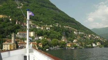 Traveling on a ferry in a luxury resort town near Lake Como, Italy, Europe. video