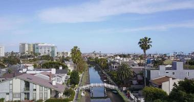 Aerial drone view of the bridges and canals in Venice Beach, California video