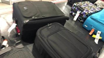 Luggage on baggage carousel at airport arrival. video