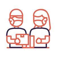 cartero, trabajador, con, máscara facial, protección, línea, estilo vector