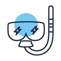 icono de estilo de línea de bloque de accesorios de snorkel vector