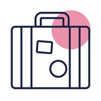suitcase travel block line style icon vector