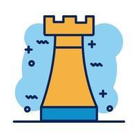 icono de estilo de detalle de ajedrez de torre vector