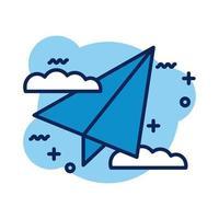 icono de estilo de detalle de avión de papel vector