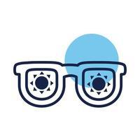 summer sunglasses block line style icon vector