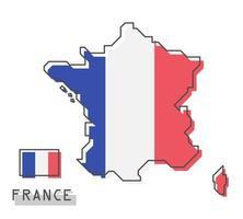 France map and flag. Modern simple line cartoon design. vector