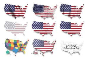 United states of america map and flags set. Multiple graphic design such as waving, watercolor painting, dotted style. Independence day concept. vector