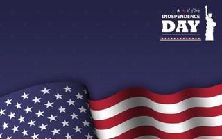 4 de julio feliz día de la independencia de américa de fondo. estatua de la libertad diseño de silueta plana con texto y ondeando la bandera americana en la parte inferior de la textura de la estrella azul. vector