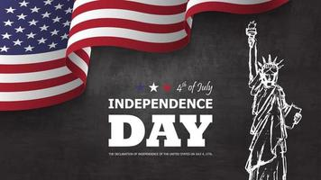 4th of July happy independence day of america background. Statue of liberty drawing design with text and waving american flag at corner on chalkboard texture. vector