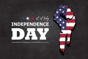 4th of July happy independence day of america background. Fist flat silhouette design with american flag and text on chalkboard texture. vector
