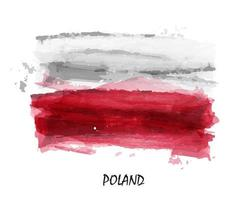 Realistic watercolor painting flag of Poland. vector