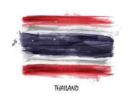 Realistic watercolor painting flag of Thailand. vector