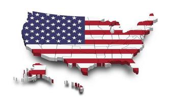 United states of america map and flag. 3D shape design. Independence day of USA concept. Perspective view. vector