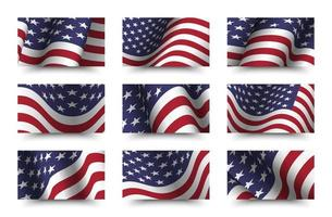 Set of america flag background collection. waving design. 4th of July independence day concept. vector