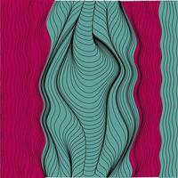 Abstract Curvy Wavy Streamlines Line Art Background Texture Colored With Green And Purple Tones vector