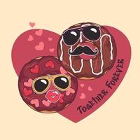 Vector hand drawn donuts with funny masks on card for valentines day.