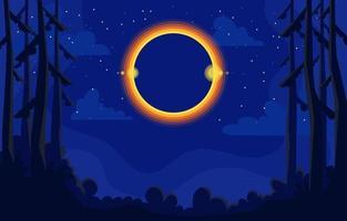 eclipse solar en el bosque vector