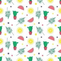 Cute bright seamless summer pattern with watermelons, lemon, cactus. Decorative elements for printing, textiles, wrapping paper and design vector