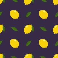 Seamless bright spring and summer pattern with lemon and slices on a dark background. A set of citrus fruits for a healthy lifestyle. Vector flat illustration of healthy food