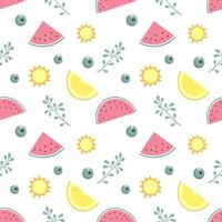 Cute seamless pattern with watermelon, lemon and twigs in pastel colours. Summer print for textiles, wrapping paper and other designs vector