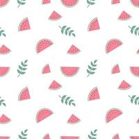 Cute seamless pattern with watermelon and twigs in pastel colours. Summer print for textiles, wrapping paper and other designs vector