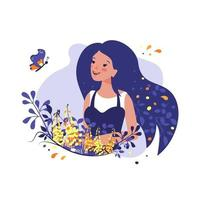 Happy women day festive decorations. Beautiful girl with flowers and a butterfly. Holiday spring or summer postcard or design vector
