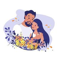 The man hugs the woman. relationships between people. Love, care and support. Vector spring illustration of people in a floral frame.