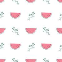 Seamless pattern with watermelon and twigs in pastel colours. Summer print for textiles, wrapping paper and other designs vector
