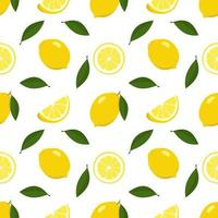 Seamless bright spring and summer pattern with lemon and slices on a white background. A set of citrus fruits for a healthy lifestyle. Vector flat illustration of healthy food