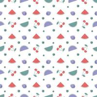 Cute trendy spring or summer seamless pattern with cherries, raspberries and watermelons. Delicate print for textiles, wrapping paper and design vector