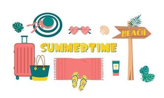 Cute bright set of summer things for travel and beach vacation. Items for holiday at sea or in tropical countries vector