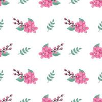 Cute stylish seamless pattern with sakura flowers and twigs. Spring print is suitable for textiles, wrapping paper, various designs vector