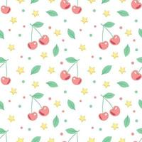 Cute spring or summer seamless pattern with cherries and stars. Delicate print for textiles, wrapping paper and design. vector