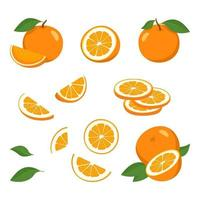 Orange icons set. Bright whole fruit, half, slices with leaves. Food for a healthy diet, dessert, sweet tangerine, lemonade. Elements for spring and summer design vector