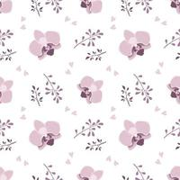 Cute stylish seamless pattern with pink orchid flowers and twigs. Spring print is suitable for textiles, wrapping paper, various designs vector