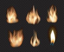 conjunto de llama de fuego realista vector