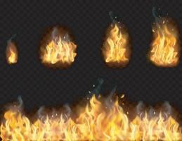 conjunto de llamas de fuego realista vector