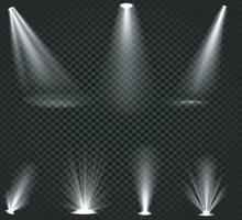 Light beams from spotlights and floor projectors set vector