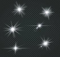 Set of white bright beautiful stars effect vector